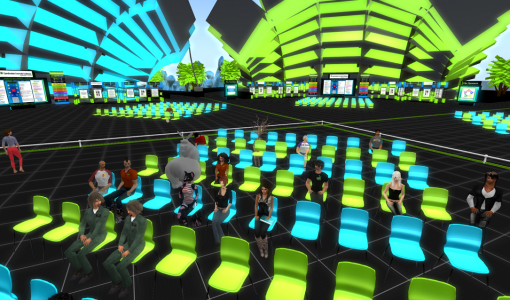 Recent attendees at an OpenSim Community Conference load test. (Image courtesy Stephen Gasior.)