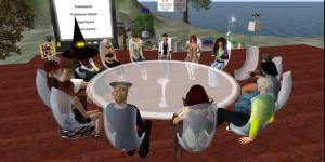 A class meets in a virtual environment. (Image courtesy Jane Wilde.)