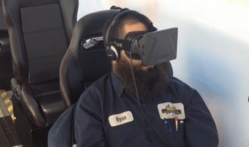 Automotive technician getting trained in virtual reality.