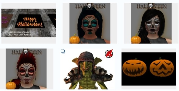 Halloween themed items on the Kitely Market.