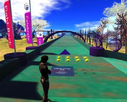 InWorldz also has the cool InShape mobile app, which bridges virtual and real exercise. (Image courtesy InWorldz.)