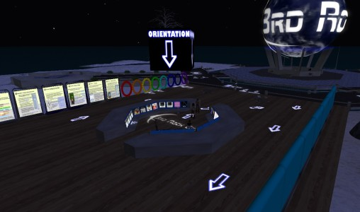 3rd Rock Grid's welcome area features mentors, links to in-world destinations, and a small selection of freebies.