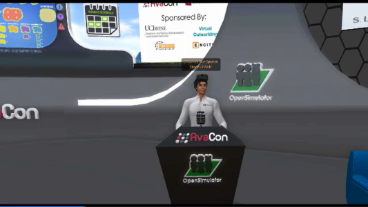 Oculus Rift chief scientist Steve LeValle addresses the OpenSimulator Community Conference in avatar form.