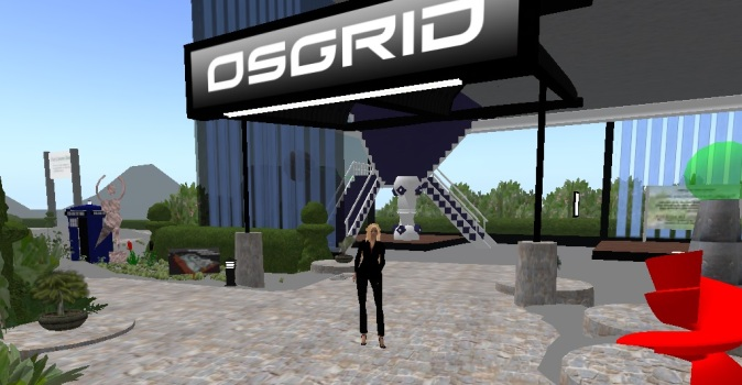 Entrance of Wright Plaza on OSgrid, the grid's main offices. The weekly meetings are held on the second floor.