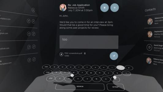A virtual reality keyboard. (Image courtesy Cordon Media.)