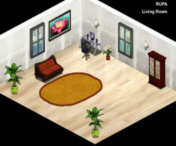 Image of an example virtual room application for use in interior decoration from the paper Interior Designing using Virtual Reality