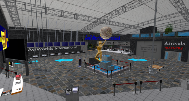The new airport-themed welcome area on the AviWorlds grid. (Image courtesy Mike Hart.)