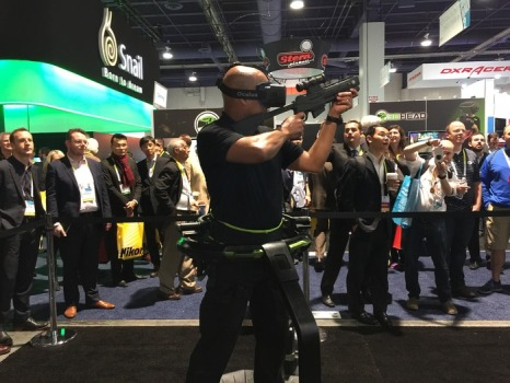 Virtuix Omni at the CES. (Image courtesy Virtuix.)