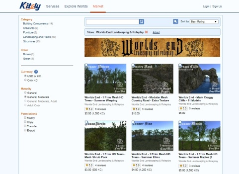 The World's End Landscaping and Roleplay store on the Kitely Market.