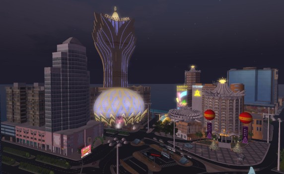 YrGrid's Welcome Center region is a recreation of the gambling district in Macau.