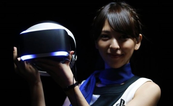 Sony did not announce a price for Project Morpheus, a VR headset that will connect with its PS4 game console, but said Tuesday that the gadget would be released in the first half of 2016. (Image courtesy Reuters.)