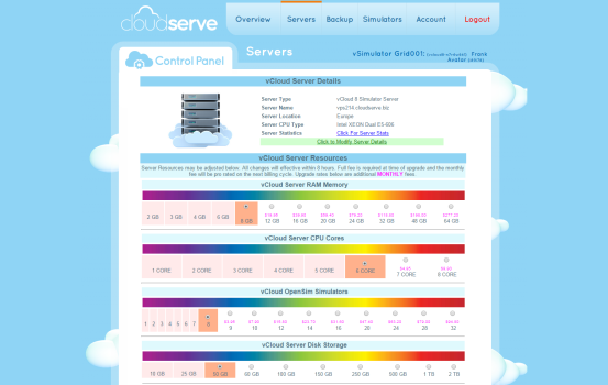 CloudServe control panel for managing server details.