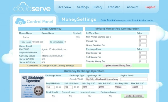 CloudServe control panel for managing currency.