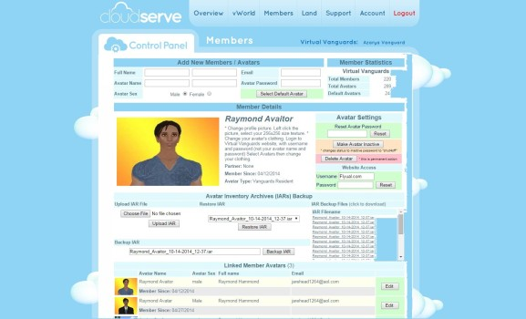 CloudServe control panel for managing users. (Image courtesy CloudServe.)