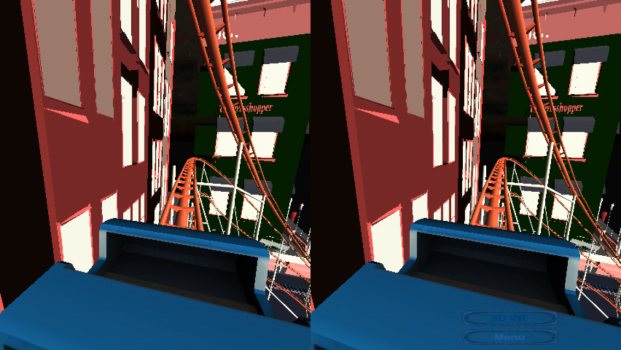 Rollercoaster Simulator features blocky, minimalist graphics.