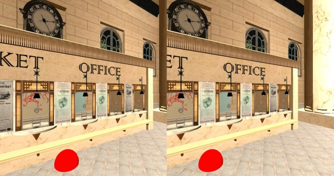 Above are two stereoscopic images of 3dcolab.com's Detroit Train Station from last years OS Community Conference. With the Google Cardboard headset on, on when you look at the red ball for two seconds, you will start walking around. (Image courtesy Paul Emery.)