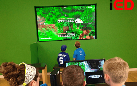 Immersive Education students at Boston's St. John School use Minecraft to learn. (Image courtesy Immersive Education Initiative.)