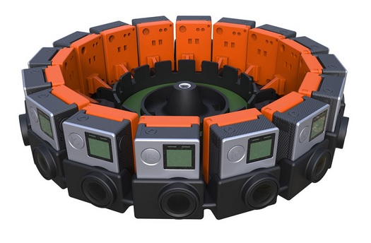 The Google Jump camera array built out of GoPro cameras. (Image courtesy Google.)