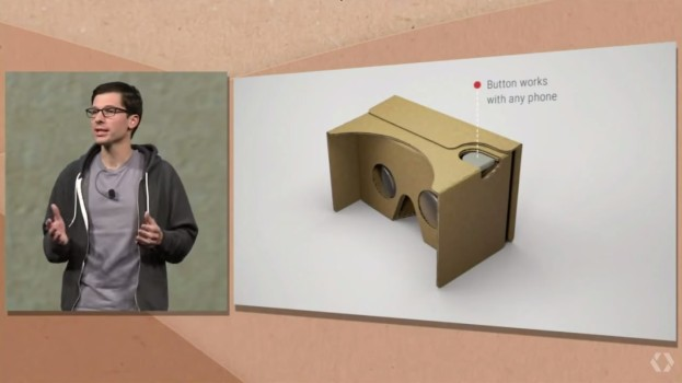 Google Cardboard's new button is on the right, not on the left, and is now an actual button.