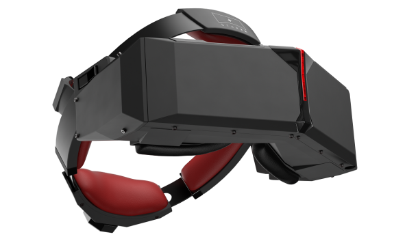 The StarVR headset uses two built-in display screens instead of one for a wider field of view. It is intended to compete with the Oculus Rift as a peripheral for the PC. (Image courtesy Starbreeze.)