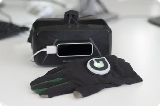 Gloveone lets wearers feel virtual objects. (image courtesy NeuroDigital Technologies.)