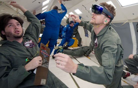 NASA and Microsoft engineers test Project Sidekick on NASA's Weightless Wonder C9 jet. Project Sidekick will use Microsoft HoloLens to provide virtual aid to astronauts working on the International Space Station. (Image courtesy NASA.)