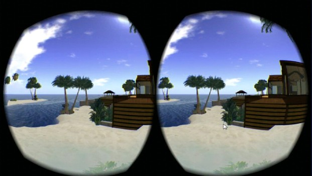 A side-by-side stereoscopic view of OpenSim.