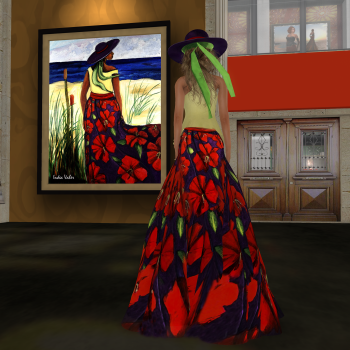 Paris METRO Couture: Artists Series featuring the art of Indea Vaher, a dress was made to match her art for the Paris METRO Art Gallery Opening Day. (Image courtesy Rose Freeland.)