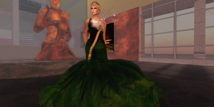 Paris METRO Couture: Toysoldier Dandilion Gown & Dress, a gown made in honor of a great artist for promotion of his art exhibit. (Image courtesy Rose Freeland.)