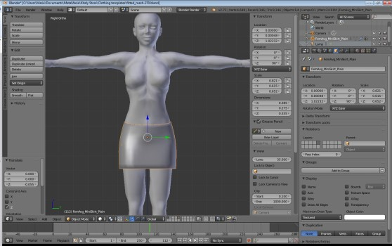 The skirt is now scaled to the right size, and adjusted to fit on the model.