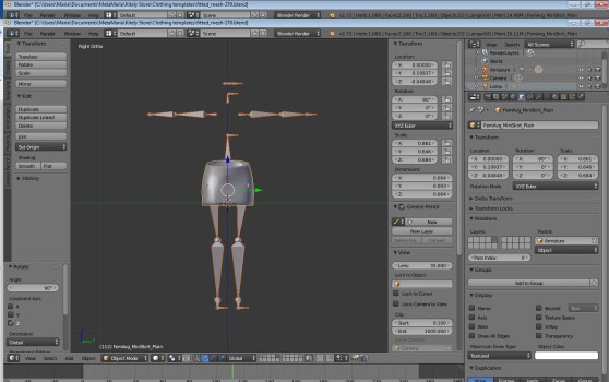 Zoomed in and rotated Famien Fate mesh miniskirt with old rigging.