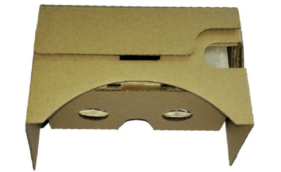 Google Cardboard version 2, with the touch button on top.