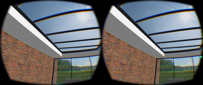 Previewing the building via an Oculus Rift. (Image courtesy Tom Janssens.)