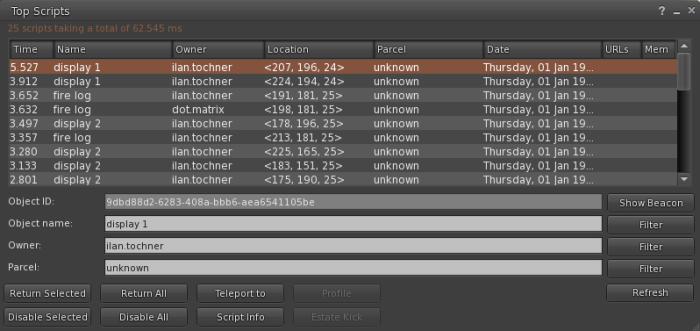 Top scripts dialog window. (Image courtesy Kitely.)