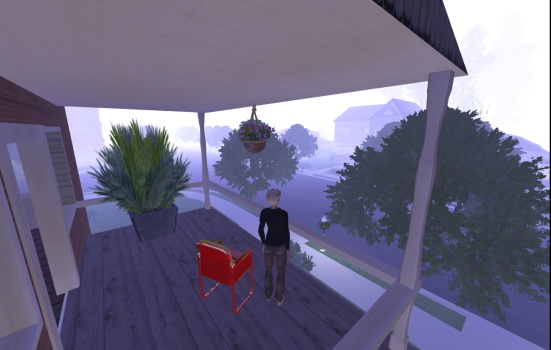 Foggy morning in a virtual Ansible neighborhood. (Image courtesy Jacquelyn Morie.)