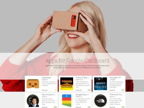 Featured Google Cardboard-compatible apps in the Google Play store.