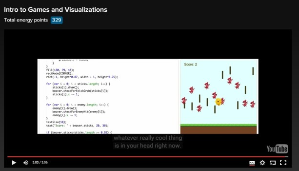 Intro to Games and Visualizations on Khan Academy
