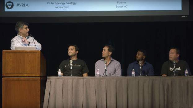 Mike Panesis moderates a panel about raising money for VR startups at VRLA Summer Expo. He is joined by David Ajalat of Cooley LLP, Clinton Foy of CrossCut Ventures, Sutha Kamal of Technicolor, and Jeff Wasson of Boost VC.
