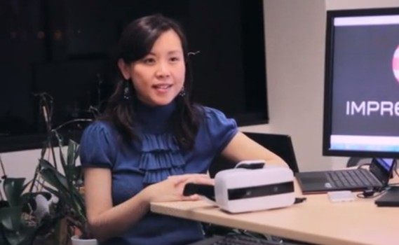 Anli He, CEO of uSens , with Impression Pi headset. (Image courtesy uSens.)