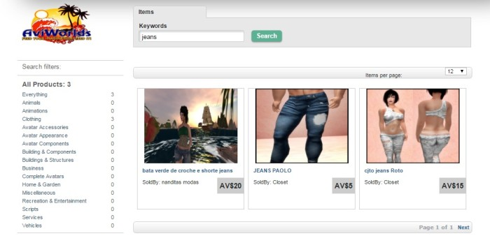 The AviWorlds Marketplace currently lists three pairs of jeans.
