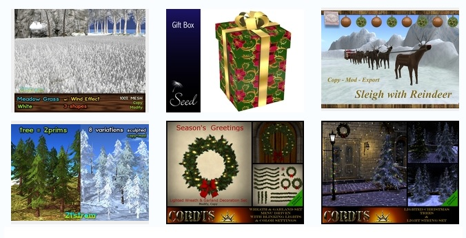 Some of Kitely Market's holiday-themed listings.