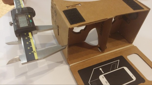 Measuring the distance between the viewer's lenses and the smartphone screen. (Image courtesy Google.)