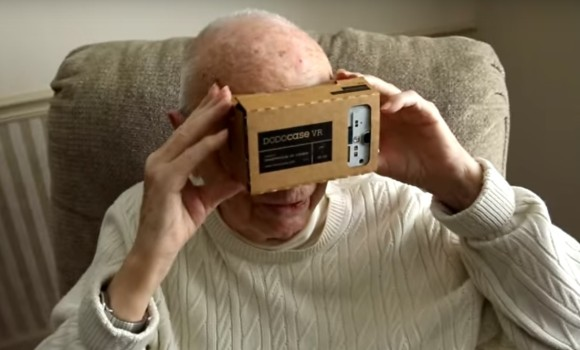 Veteran with Google Cardboard headset. (Image courtesy Veterans United Foundation.)