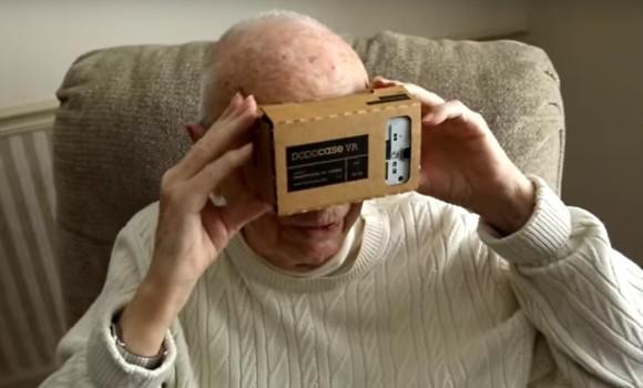 Veteran with Google Cardboard headset. (Image courtesy Veterans United Foundation.)
