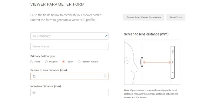 Google's Viewer Profile Generator for Google Cardboard-compatible headsets.
