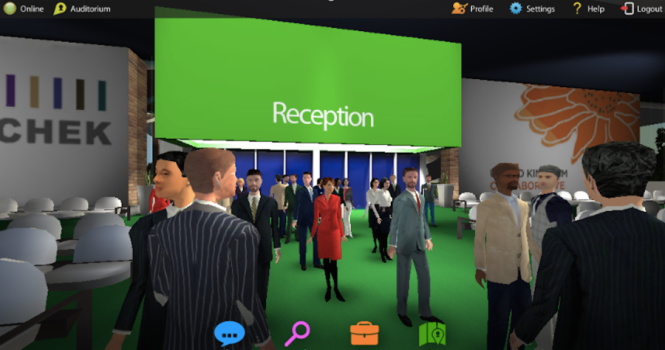 A continuing medical education program conducted in Hyperfair's immersive virtual environment. (Image courtesy Hyperfair.)