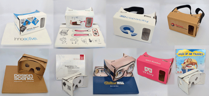 Custom-branded Google Cardboard headsets, from Netherlands-based Cardboards.nl.