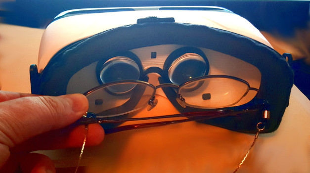 My glasses fit comfortably inside the Gear VR headset.