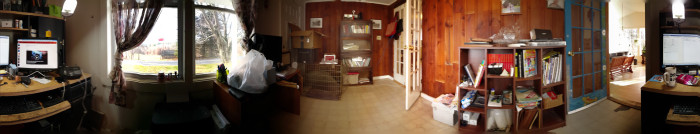 My physical office, captured with the Cardboard Camera app.