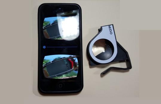 A folded Homido Mini next to my Samsung Galaxy S6.